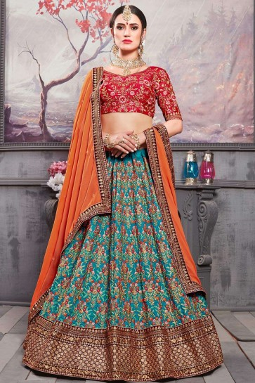 Deep ocean blue Silk Lehenga Choli