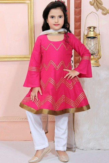 Pink Cotton and silk Salwar Kameez