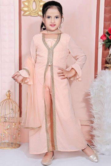 Light peach Faux georgette Salwar Kameez