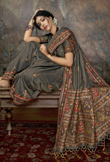 Grey Silk saree