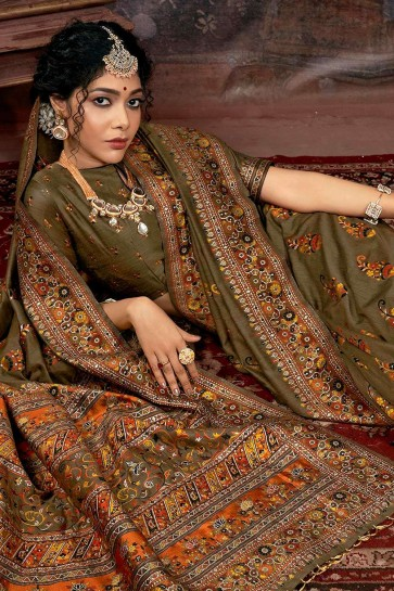 Olive Green Saree with Printed Silk