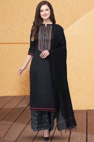 Black color Jam Silk Cotton Palazzo Suit