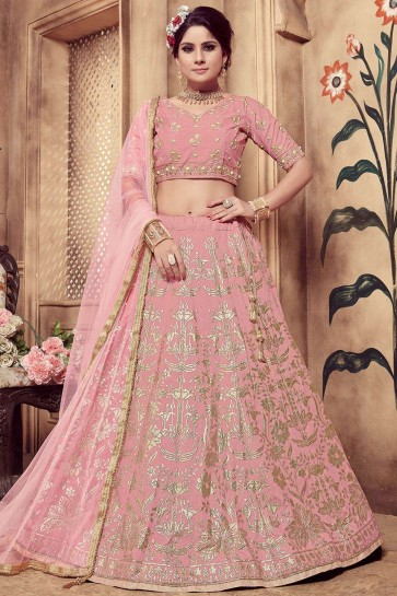 Dusty pink Silk Lehenga Choli