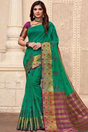 Raw Silk Saree in Green with Embroidered