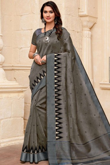 Dark grey Raw silk  saree