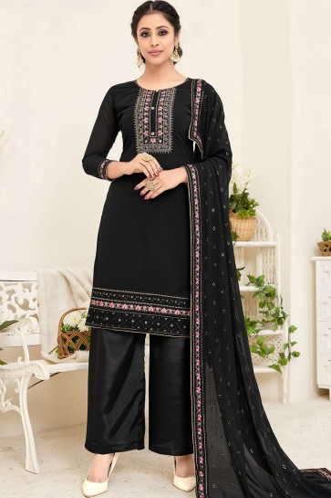 Black color Australian Georgette Palazzo Suit
