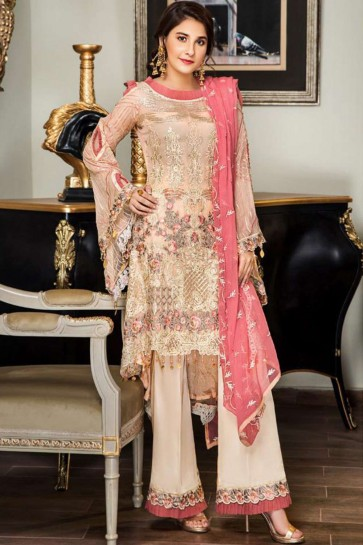 Pink color Georgette Palazzo Suit