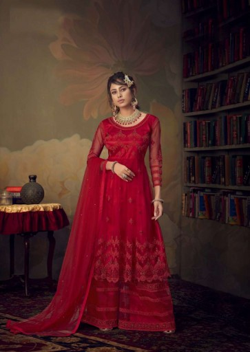 Red color Net Palazzo Suit