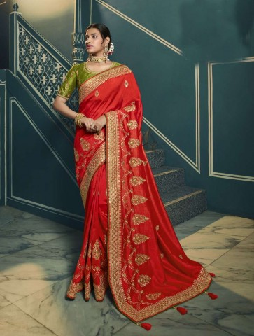 Red color Silk saree