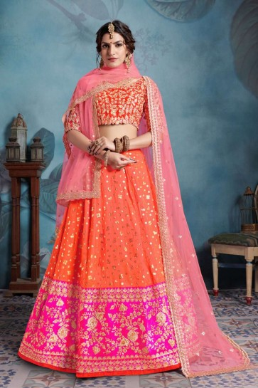 Orange, Pink color Art Silk Lehenga Choli