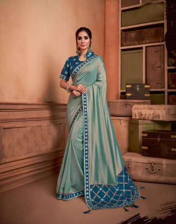 Greyish Green color Dual Tone Silk saree