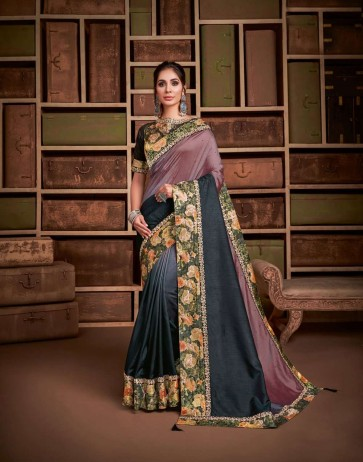 Black-Mauve color Shaded Silk saree