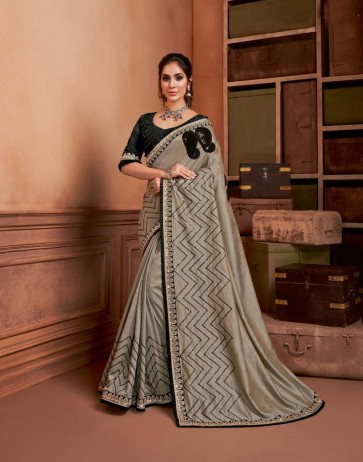 Grey color Silk saree