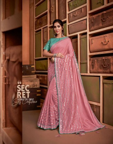 Pink color Tussae Silk saree