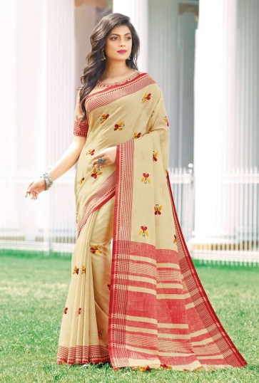 Cream color Linen Cotton saree