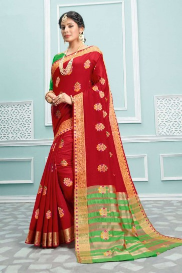 Red color Cotton saree