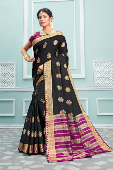 Black color Cotton saree
