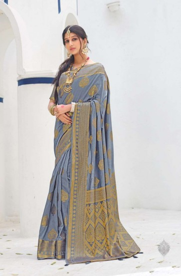 Stone Grey color Dolla Silk South Indian Saree
