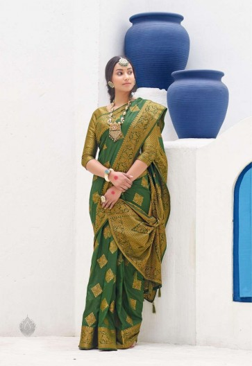 Green color Dolla Silk South Indian Saree