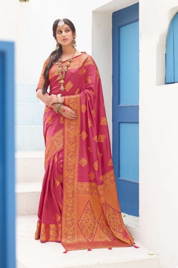 Pink color Dolla Silk South Indian Saree