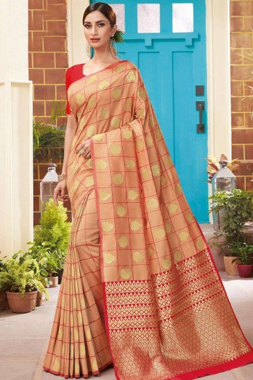 Peach color Soft Silk South Indian Saree