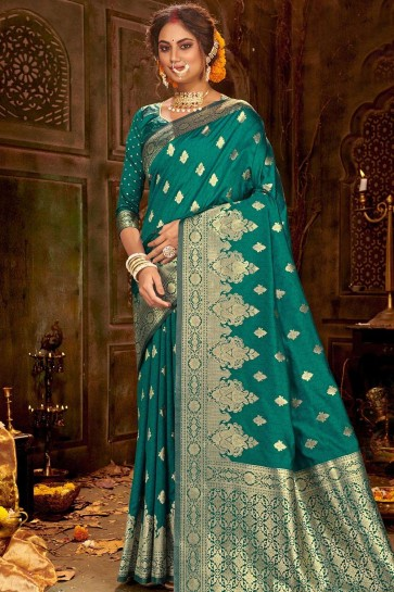 Green color Soft Banarasi Silk South Indian Saree