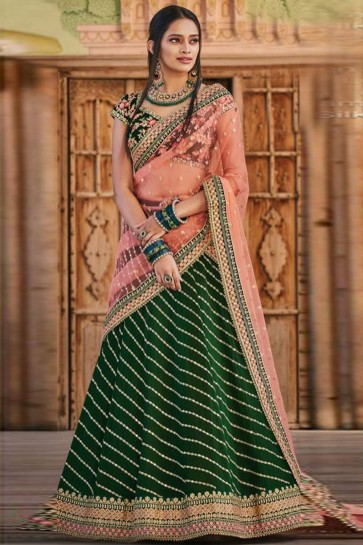 Bottel Green color Georgette Lehenga Choli