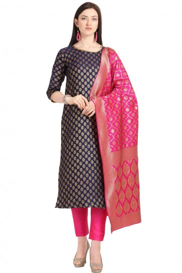 Navy Blue color Weaving Jaquard Salwar Kameez