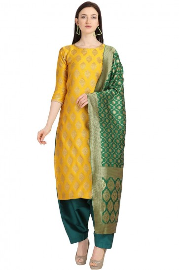Yellow color Weaving Jaquard Salwar Kameez