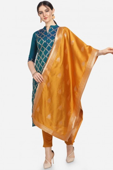 Teal Blue color Cotton Jacqard Salwar Kameez