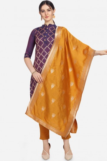 Purple color Cotton Jacqard Salwar Kameez