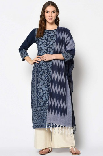 Navy Blue color Cotton Salwar Kameez