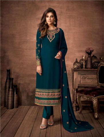 Rama green Georgette Straight Pant Suit