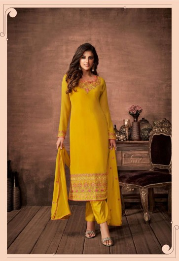 Yellow Georgette Straight Pant Suit