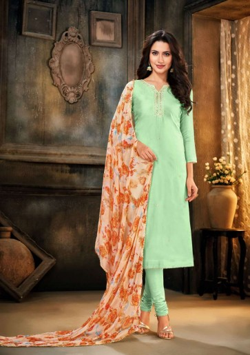 Light green Chanderi and cotton Churidar Suit