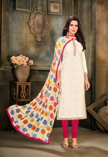 White Chanderi and cotton Churidar Suit