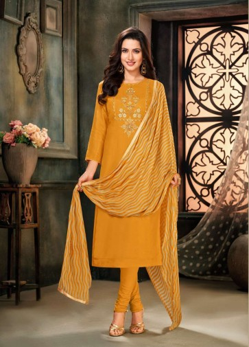 Mustard Chanderi and cotton Churidar Suit