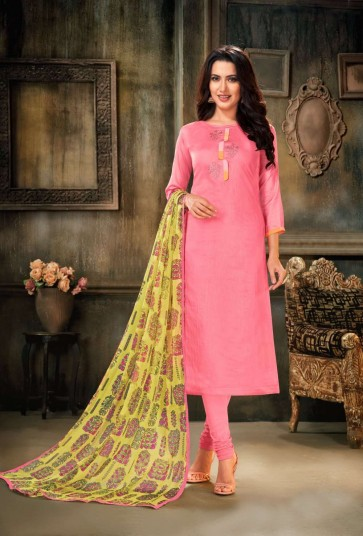 Light pink Chanderi and cotton Churidar Suit