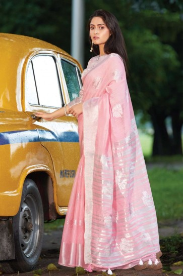 Light pink Cotton and linen  saree