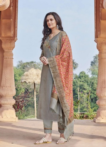 Grey Chanderi Straight Pant Suit