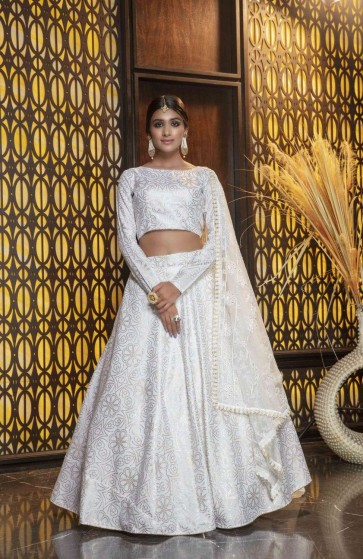 White Cotton Lehenga Choli