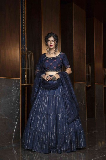 Navy blue Cotton Lehenga Choli