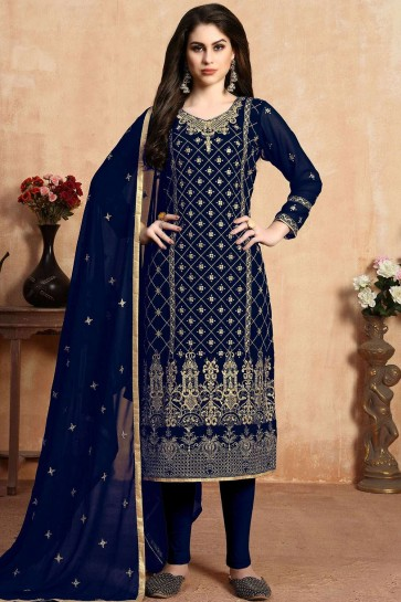 Navy Blue Faux Georgette Churidar Suit