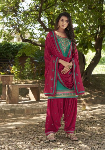 Green Cotton and satin Patiala Suit