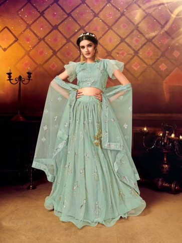 Seaa green Soft net Lehenga Choli