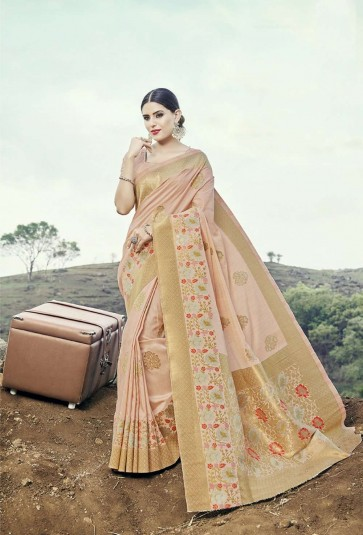 Baby pink Silk  saree