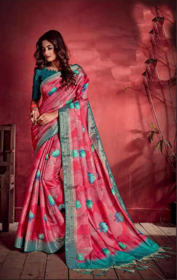 Pink Art silk saree