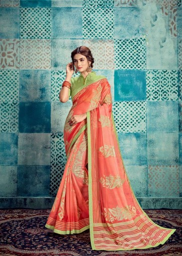 Peach Kota doria and silk  saree