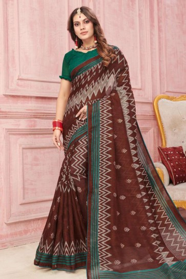 Brown Art silk  saree
