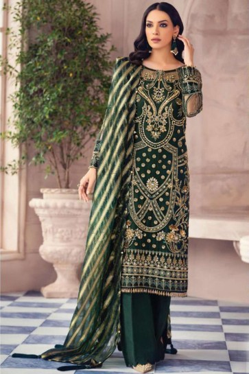 Palazzo Suit in Green Net with Net